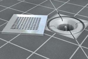 Как смонтировать в ванной слив в полу